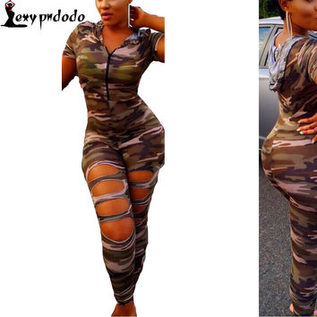 Short Sleeve Rompers Womens Jumpsuit Army Soldier Catsuit Camouflage Bodycon Jumpsuit Plus Size Jumpsuits And Rompers Bodysuit