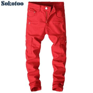 Sokotoo Men's red patchwork pockets cargo jeans Slim fit stretch denim pencil pants