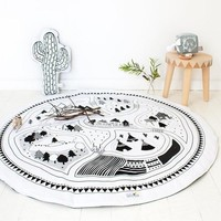 Kids Game Mats Baby Crawling Blanket Cotton Chilren Padded Play Mat Round Racing Games Carpet Play Rug Kids Room Decoration
