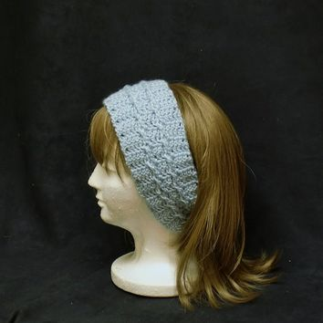 Blue Headband Crochet Earwarmer Cable Cross Head Band Crocheted Hair Accessories