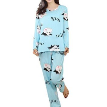 2017 Spring Autumn Women Soft cotton Cartoon Pajamas Suits Clothing Home Suit Sleepwear Long Sleeve Pyjamas Sets 3 Colors