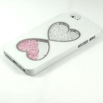 Pink and White Heart Crystal Rhinestone iPhone 4 4S Case Glitter Diamonds See Through Clear Swarovski Loose Shake