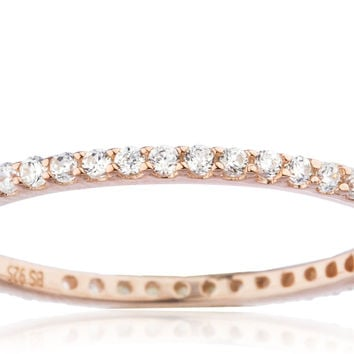 925 Sterling Silver Rose Goldtone Simple Ring Band with Cz Stones - Available in Sizes 6 to 9