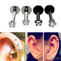 2Pcs Cubic Zirconia Tragus Lip Ring Monroe Ear Cartilage Earring Tongue Studs