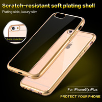 Super Thin Clear Soft TPU Gel Rubber Gold Chromed Plating Frame Case Cover For iPhone 6 4.7/ 6S For iPhone 6 Plus 5.5/ 6S Plus