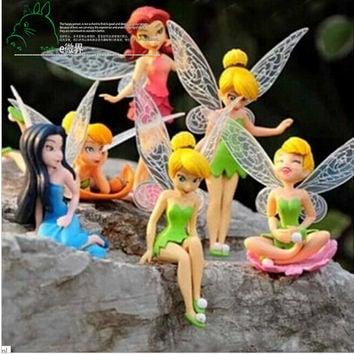 6pcs Set Christmas Halloween Kids Gift Tinkerbell Dolls Flying Flower Fairy Children Animation Educational Cartoon Toys BabyToy
