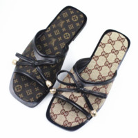 GUCCI & Louis Vuitton LV Summer new fashion flat more letter print Bow tie sandals female slippers shoe two color