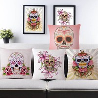 Skull and Flowers Pillowcases