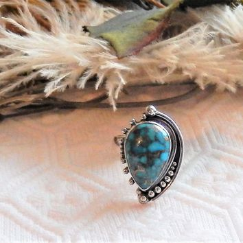 Artisan Crafted Sterling Silver Copper Mohave Blue Turquoise Adjustable Ring