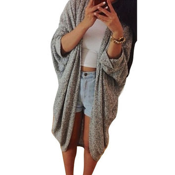 Womens Casual Oversized Knit Sleeve Sweater Coat Polyamide Cardigan Jacket = 1931486020