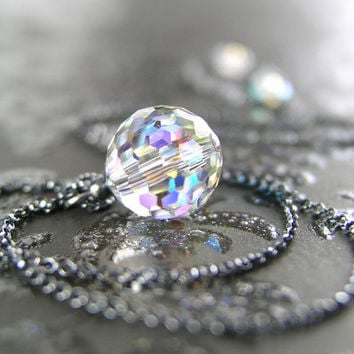 Clear Crystal Ball Necklace Antiqued Sterling Silver Necklace Swarovski Clear Crystal Prism Pendant Necklace Dainty Everyday Necklace