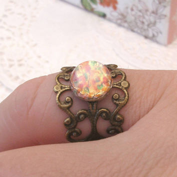 Fire Opal Ring, Vintage Czech Glass on Antiqued Brass, Filigree Ring, Rainbow Ring, Harlequin Ring