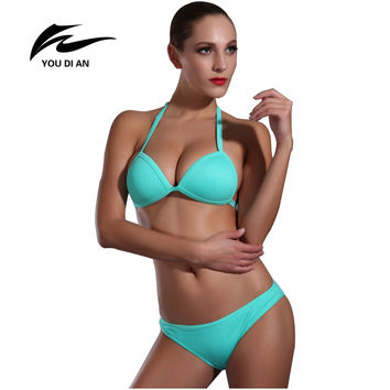 pareo Bandeau Bikini European and American Bikini Set Swimsuit Bra Push Up women 2016 Swimwear biquinis bikini brazilian