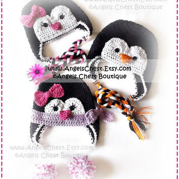 Cute PENGUIN Crochet Hat Earflap Pattern Size Newborn to Adult Boutique Design - No. 52 by AngelsChest