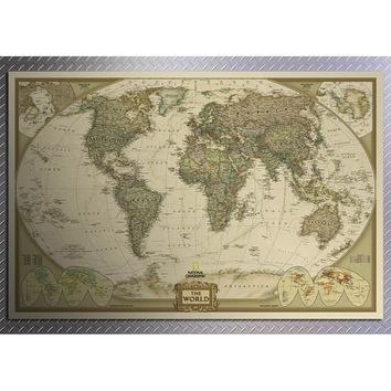 World Maps Wallpaper Large Retro Kraft Paper Paint Vintage Wall Sticker Art Crafts Maps Poster For Living Room Decoration
