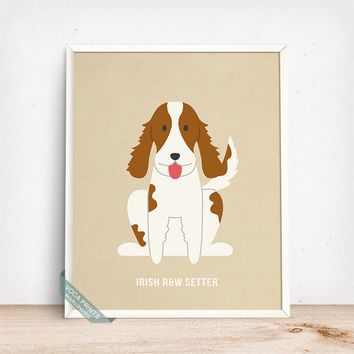 Irish Red White Setter Print, Irish R&W Setter Poster, Dog Print, Irish Dog, Ireland Dog, Dog Breed, Home Decor, Wall Art, Fathers Day Gift