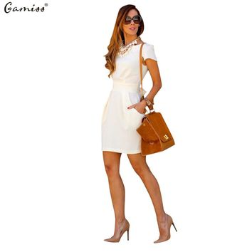 Gamiss Women Dresses Elegant Pink Office Work Business Casual Party Pencil Sheath Vestidos Woman Sexy Collect Waist Dress