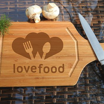 ikb445 Personalized Cutting Board Wood heart love meal restaurant kitchen