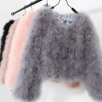 10 colors fashion sexy Ostrich wool turkey fur 2017 wool coat feather fur short jacket angelababy