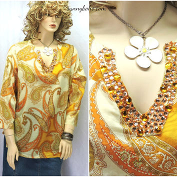 Boho Indie tunic top L XL sequined beaded tunic blouse top retro paisley hippie tunic pale yellow paisley top SunnyBohoVintage