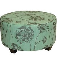 Round Upholstered Queen Anne's Lace Cocktail Ottoman