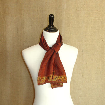 Cinnamon Red Scarf: Upcycled Indian Sari Womens Scarf, Handmade Paisley Saree Scarf from India