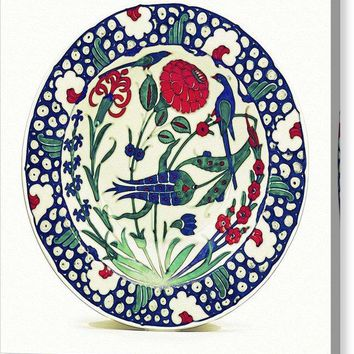 An Ottoman Iznik Style Floral Design Pottery Polychrome, By Adam Asar, No 1a - Canvas Print