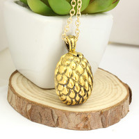 Ebay Hot Sale vintage golden punk alloy Game of Thrones Dinosaur Dragon egg pineapple pendant necklace for men