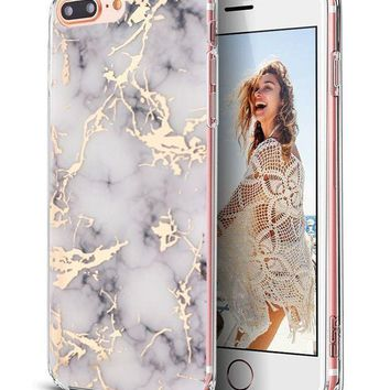 Iphone 7 Plus Caseiphone 8 Plus Casespevert Marble Pattern Hybrid Hard Back Soft Tpu Raised Edge Ultra Thin Shock Absorption Protective Case For Iphone 7 Plus/iphone 8 Plus   White