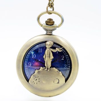 New arrival The little Prince Bronze Quartz Pocket Watch Analog Pendant Necklace Mens Womens Kids Gifts