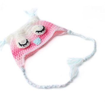 Crochet Baby Girl Sleep Owl Hat, Owl hat, Todler owl hat, Photography Prop