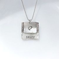 Hand Stamped Aluminum Stacked Square Personalized Necklace - Mothers Necklace- Mothers Jewelry- Distressed Jewelry