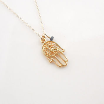 Gold Hamsa Necklace with Dark Blue Sapphire