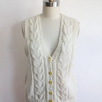 Vintage 70s Ivory White Cable Knit Sweater Vest // Women's Small