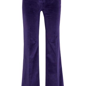 Pallas - Satin-trimmed cotton-velvet flared pants