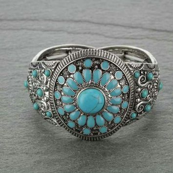 Bracelet Navajo Style Double Stretch Turquoise