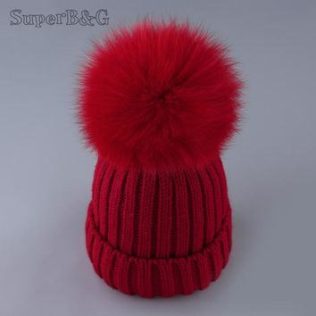 SUPERB&G real fox fur pom poms ball Keep warm winter hat for women girl 's wool hat knitted beanies cap thick female cap