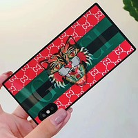 GUCCI 2018 new 3D square iPhone6s fashion striped phone case F0776-1 red