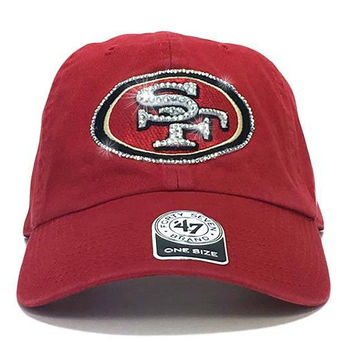 San Francisco 49ers '47 Brand Adjustable Cap + Custom Swarovski Crystals