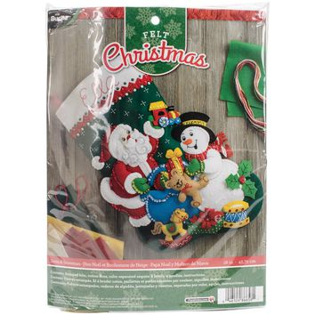 "Santa & Snowman Bucilla Felt Stocking Applique Kit 18"" Long"