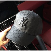 Black GUCCI Woman Embroidered Sport Baseball Hat Cap
