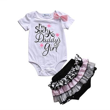 pudcoco 0-3Y Newborn Infant Baby Girl Clothing set bebe daddy girl bodysuit+Lace ruffles Shorts Dress kids child Summer Outfits