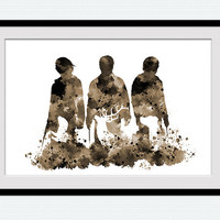 Harry Potter poster Harry Potter watercolor print Harry Potter trio sepia illustration Home decoration Kids room decor Nursery room art W432