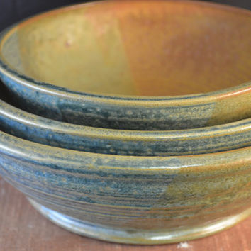 Handmade Ceramic Set of Nesting Bowls - Serving Bowl, Mixing Bowl - Redwood Brown and Antique Blue