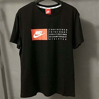NIKE classic men and women fashion wild casual short sleeve F-ZDL-STPFYF black