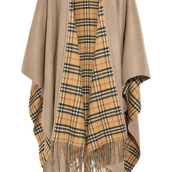 Burberry - Reversible fringed checked cashmere and wool-blend wrap
