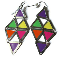 Colorful Triangle Kite Earrings, Geometric Jewelry, Neon Colors, Nickel Free