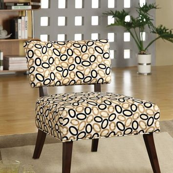 A.M.B. Furniture & Design :: Living room furniture :: Accent chairs :: Able collection multi color oval and waves print with tapered legs fabric upholstered accent side chair