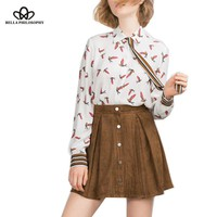 autumn winter birds full print bow tie women white shirt blouses long sleeve real photo