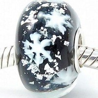 BEADS HUNTER Authentic .925 Sterling Silver Core Let It Snow! Snowflakes in a Black Glass Charm